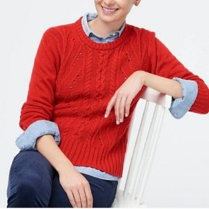 J.Crew Factory red lambswool cable knit sweater